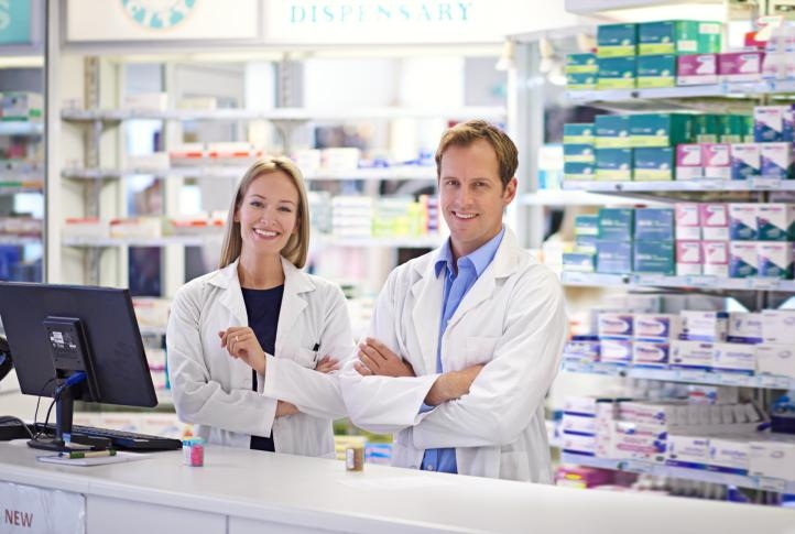 Two doctors standing in Pharmacy