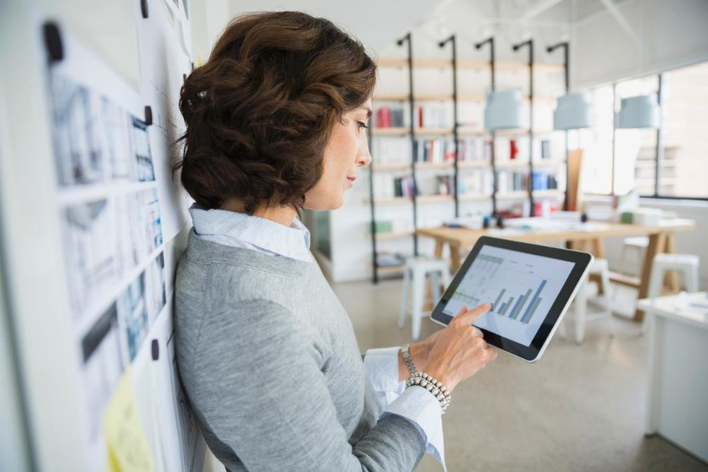 Lady Using Tablet Device