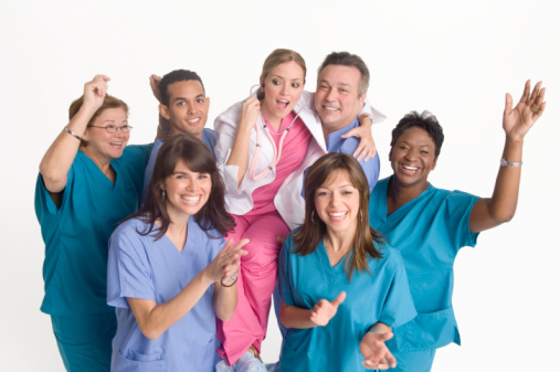 Group of nurses and doctors in a medical practice company